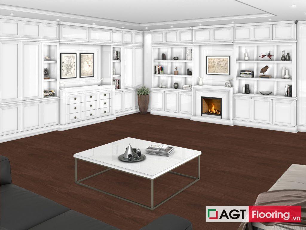 Sàn gỗ AGT Flooring cho phòng khách kiến trúc cổ điển